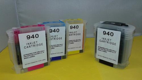 cartuchos recargables hp 940 con chip 8500 8000 x4 autoreset