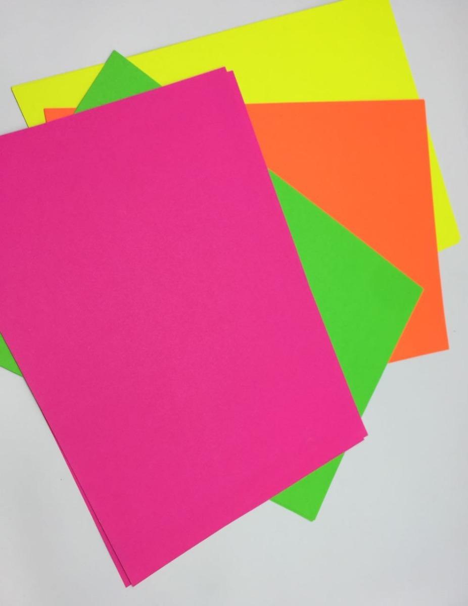 Cartulina Fluorescente Octavos Carteleras Manualidades X 10