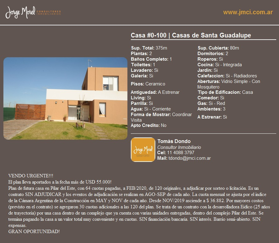 casa #0-100 - casas de santa guadalupe - 80m2 #id 21922
