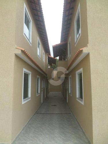 casa 1ª locação de 2 quartos em cond. fechado, jardim califórnia, são gonçalo. - ca1356