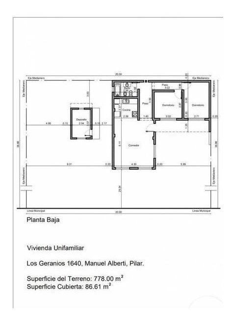 casa 2 dormitorios en una planta. barrio abierto sin expensas