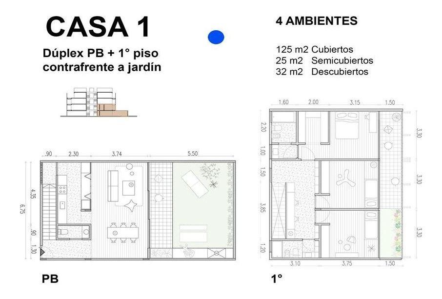casa 3 ambientes 150m2 c/jardin, parrilla y pileta