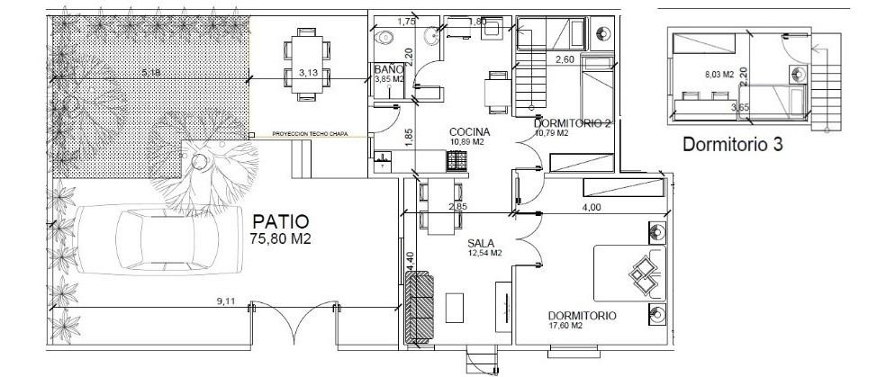 casa 3 dormitorios con amplio patio, a 3 cuadras gral flores