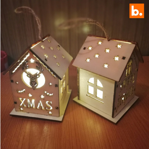 casa adorno navideño c/ luz set 3