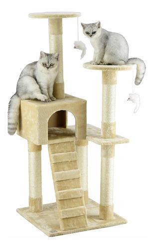 casa árbol amueblado para gato color beige envío gratis!