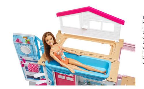 casa barbie 2 historias portátil novo - mattel original