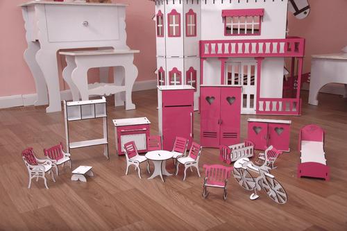 casa barbie casinha de bonecas palácio e moveis pintura s-s
