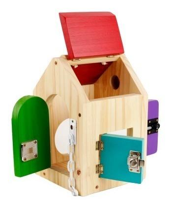 casa c/ cerraduras artesanal madera panel montessori waldorf