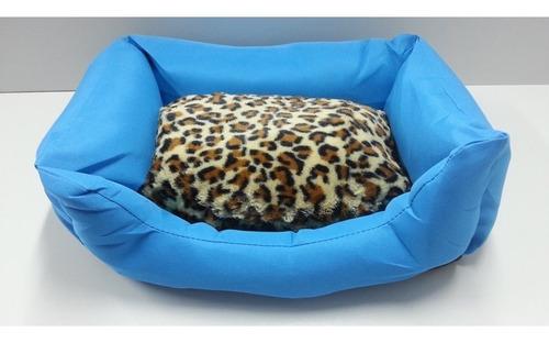 casa cama azul celeste onça pet para cachorro lavável médio