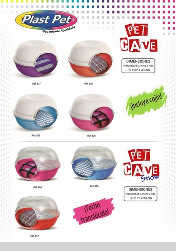 casa cama cueva gato perro plast pet cave morada c/envío