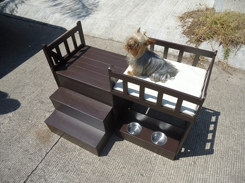 Casa cama de dos pisos para perros miniatura o gatos for Escaleras para 3 pisos