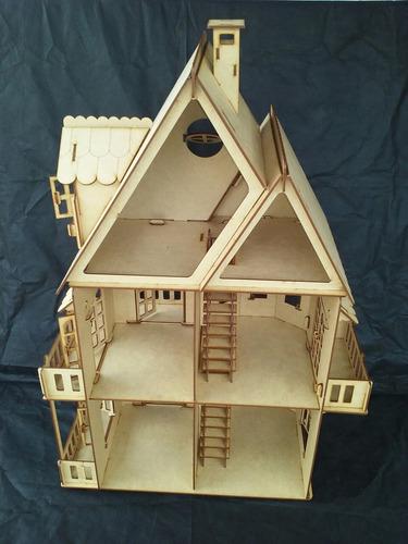 casa casinha boneca mdf - modelo unico polly (completa)