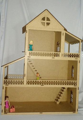 casa casinha boneca mdf polly grátis 24 móveis c7 p. entrega
