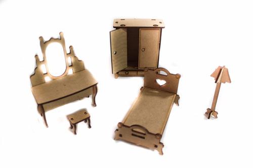 casa casinha boneca polly +27 mini móveis mdf cru linda!!