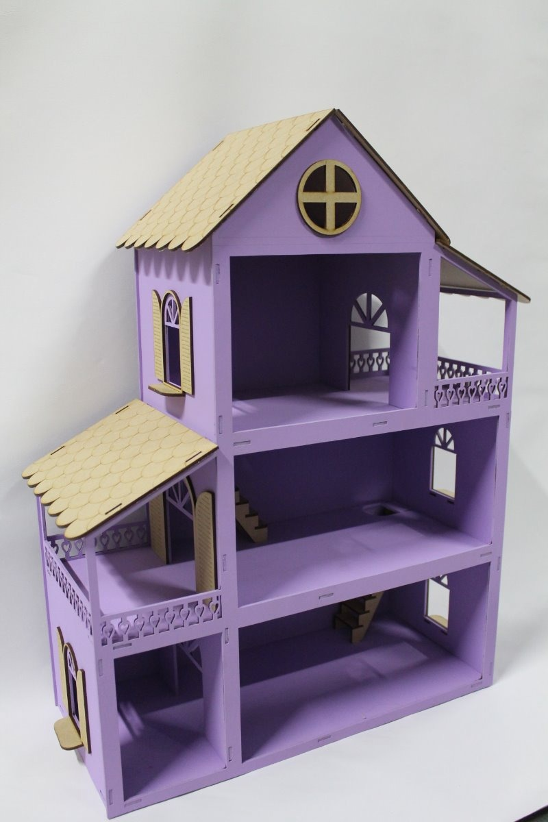 fac2a787f casa casinha boneca polly mdf pintada lilas + 30 moveis mont. Carregando  zoom.