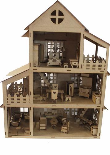 casa casinha boneca polly + móveis janela e porta abre fecha