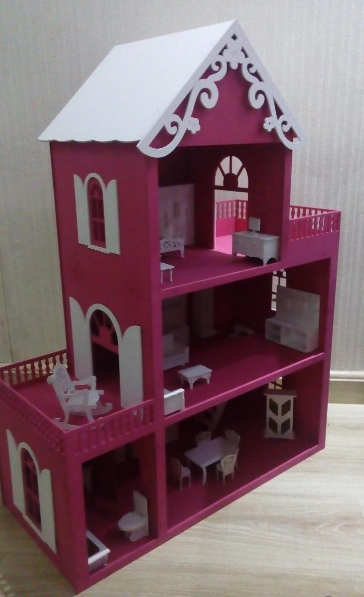 c793d0a73 casa casinha bonecas polly mdf pintada kit móveis montada. Carregando zoom.