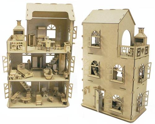 casa casinha brinquedo + kit 27 móveis + churrasqueira mdf b