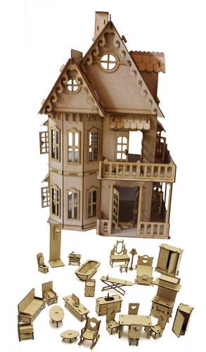 casa casinha castelo boneca polly pocket + 27 moveis mdf cru