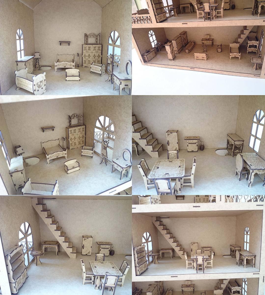 Casa Casinha De Boneca Mdf Crú 80cm   50 Movéis Frete Gratis R$  #634A3C 1079x1200