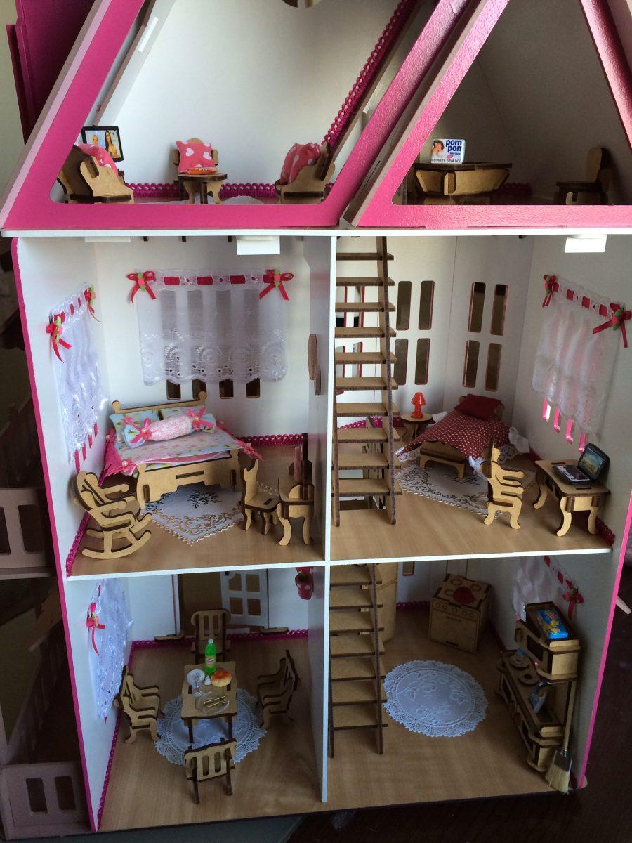 casa casinha de boneca mdf polly pintada com kit m veis