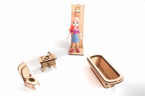 casa casinha de boneca polly +27 mini móveis +parquinho