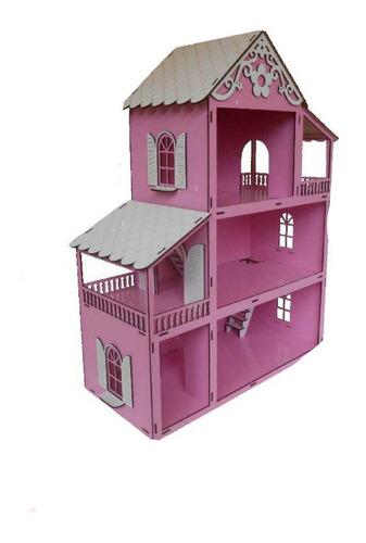 casa casinha de boneca rosa show +27 moveis+mini parque