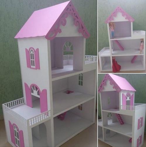 Casa Casinha De Bonecas Barbie Mdf Pintada Grande R 329