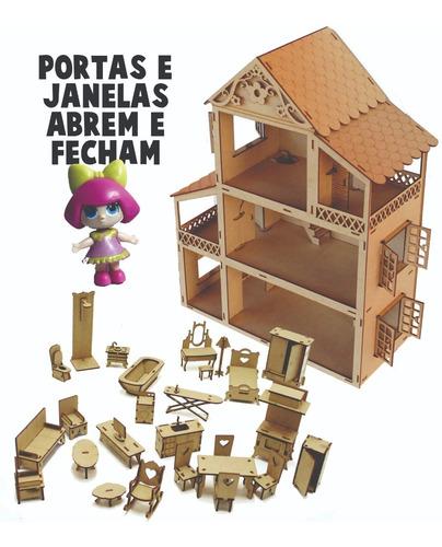 casa casinha mdf crú +2 boneca lol +27 mini moveis mdf