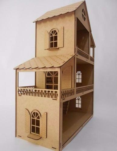 casa casinha mdf p boneca polly, barbie p - promoção