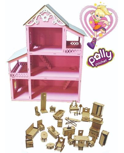 casa casinha pintada rosa branca +27 móveis+parque+carro mdf