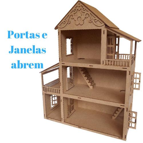 casa casinha polly em mdf com portas e janelas que abrem cn4
