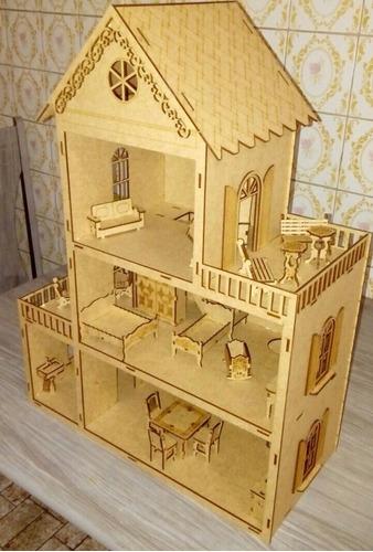 casa de boneca com moveis montada