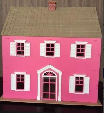 casa de boneca em mdf cru 6mm 74x75x44 cm...