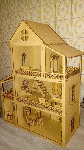 casa de boneca modelo 2 com 30 míni móveis