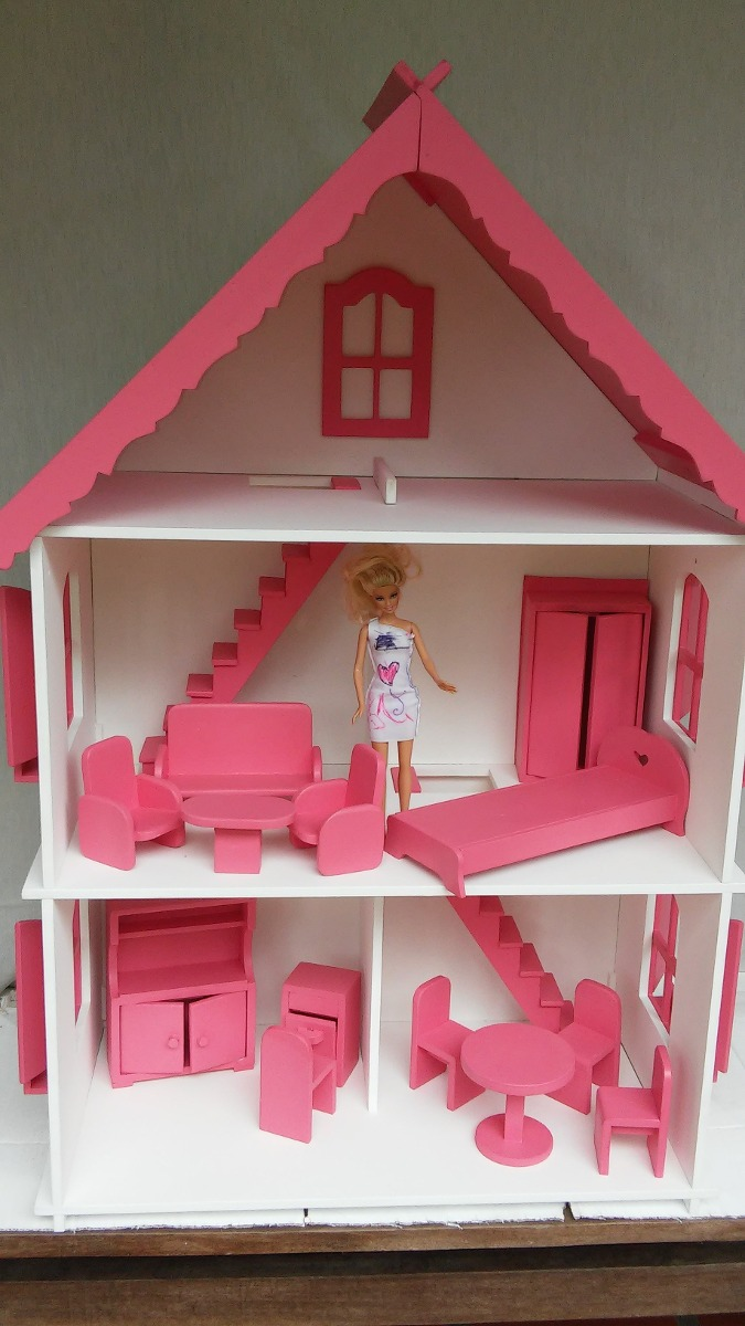 Casa de boneca para barbie com moveis mdf 9mm - Supercasa de barbie ...