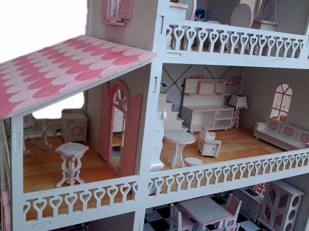 Casa De Boneca Polly Em Mdf Pintada Com 35 Móveis R$ 299 90 em  #40668B 1200x900