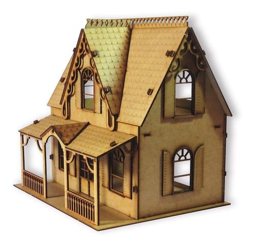 casa de bonecas barbie polly princesas mdf provençal 72 peça