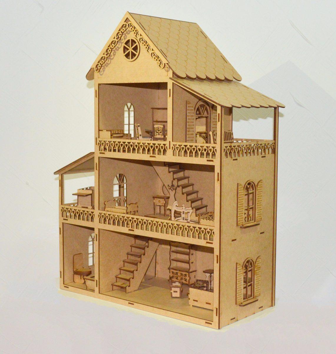 Casa de bonecas polly mini moveis mdf para pintar r - Casa para pintar ...