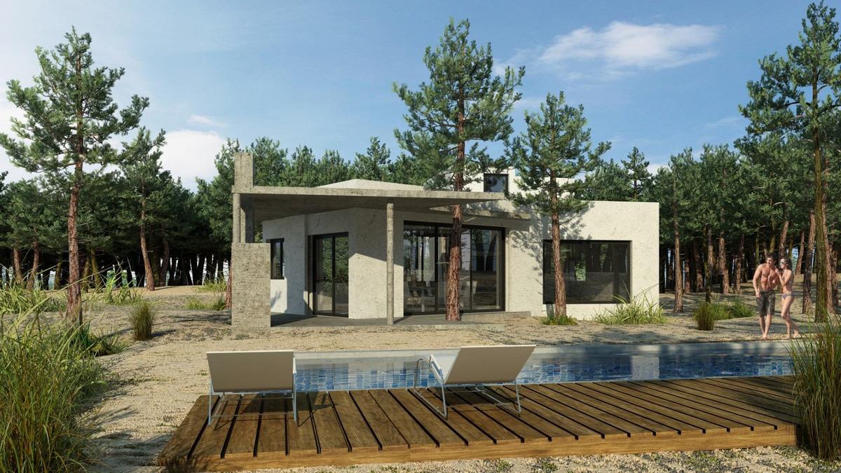 casa de diseño dos plantas golf2 costa esmeralda con piscina