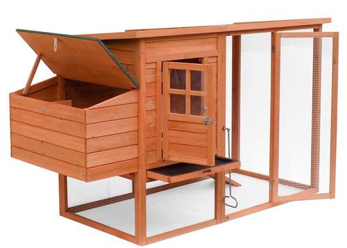 casa de madera natural para mascota con aditamentos merax