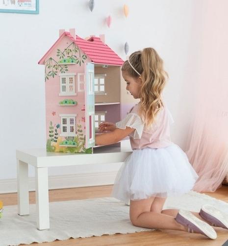 casa de madera para muñecas estilo casa campo + 7 accesorios