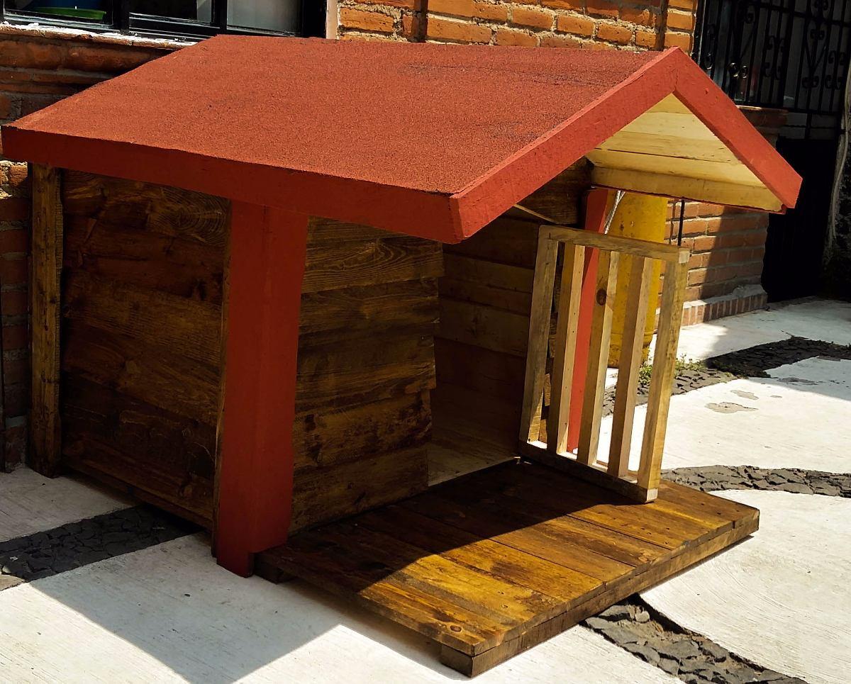 Casa de madera para perro con terraza impermeabilizada - Casa de perro grande ...