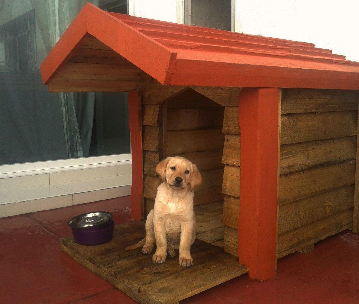 Casa de madera para perro c terraza techo - Como hacer una casa para perro grande ...