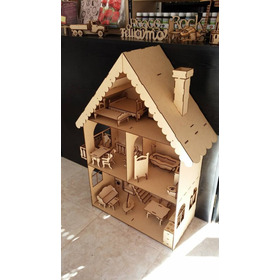 Casa De Muñecas Barbie+30 Muebles Mdf Fibrofacil Corte Laser