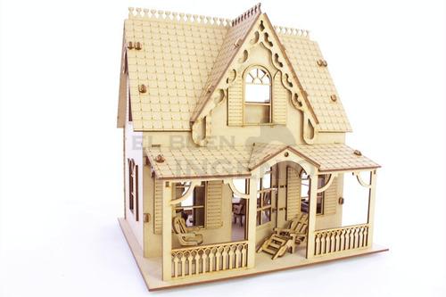 casa de muñecas c/ muebles casa de campo para muñecas peques