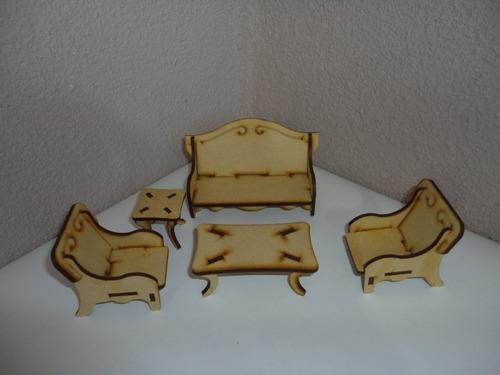 casa de muñecas california + kit 23 muebles madera mdf