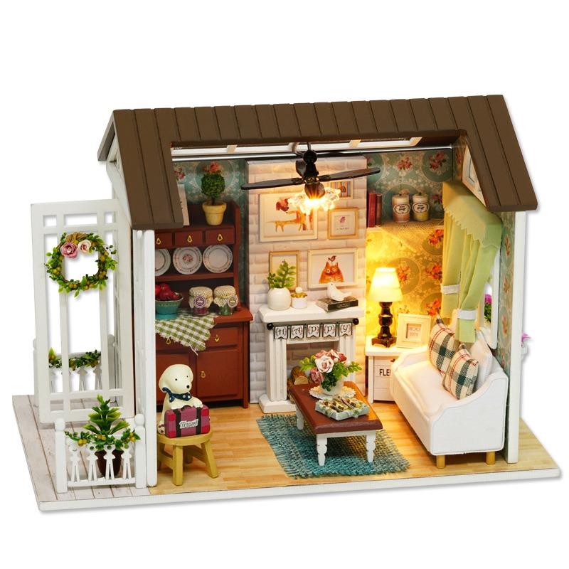 Dollhouse Miniature Roombox Sitting Room: Casa De Muñecas De Madera En Miniatura Con Luz Led Y