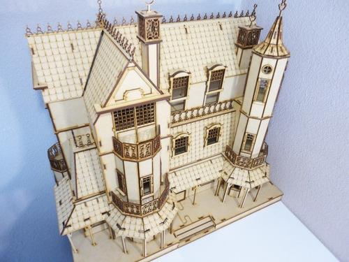 casa de muñecas mansion gotica hecha en madera mdf