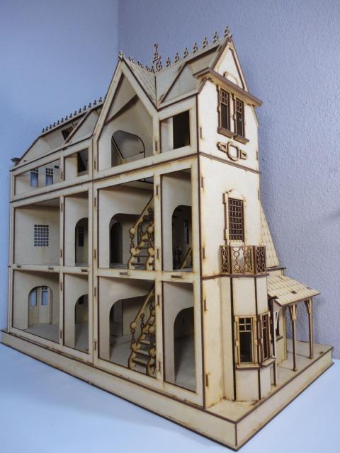 Casa de mu ecas mansion gotica hecha en madera mdf 790 - Casa de munecas teatro ...